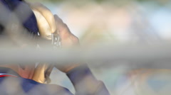 Detail of an umpire at a little league baseball game, slow motion. Stock Footage