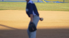 The pitcher in a boys little league baseball game. Stock Footage