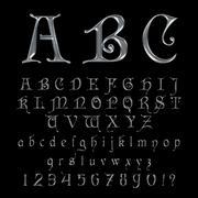 Elegant Silver Platinum Font, Alphabet, ABC and numbers Stock Illustration