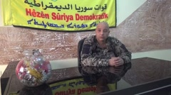 October 15, 2016: Soldier speaking, HSD flag, ISIS war, SDF Syria Stock Footage