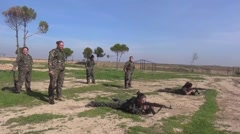 Syria - October 15, 2016: YPJ troops shooting on range ,ISIS war, SDF - YPJ,YPG Stock Footage