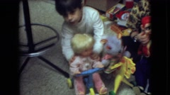 1966: children playing with children toys and dolls ATHENS OHIO Stock Footage
