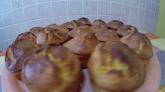 Corn Bread Muffins Golden Brown and Ready to Eat Stock Footage