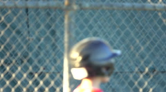 Boys practice for a little league baseball game, super slow motion. Stock Footage