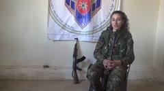 Syria - October 15, 2016:YPJ commander chat with kalashnikov, SDF- Training camp Stock Footage