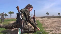 Syria - October 15, 2016:YPJ soldier set kalashnikov, SDF - Training camp Stock Footage