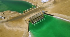 Dead Sea water dam - Aerial Shot Stock Footage