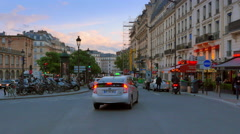 4K Road Traffic in Paris, Dusk Sunset, Sunset Urban Cityscape Stock Footage