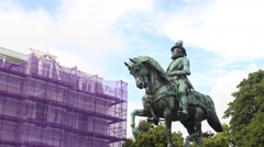 The Hague, Netherlands- Noordeinde Palace Statue Stock Footage