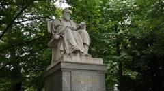 Statue of Max Von Pettenkofer at the Maximiliansplatz park in Munich Stock Footage