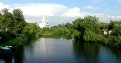 View of the Church of Cosmas and Dominion, the religious center of Russia Stock Footage