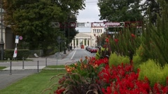 Propylaea in Munich - flowers on the foreground Stock Footage