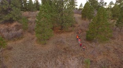 Aerial shot of a family walking through the woods hunting Stock Footage
