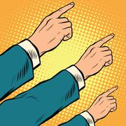Retro hands pointing to the right up Stock Illustration