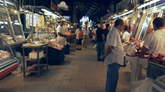 3 axis gimbal shot walking in athens central market, greece Stock Footage