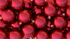 Red glossy Christmas balls are filling the screen, 3D animation with alpha mask Stock Footage