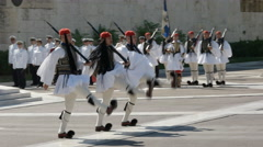 Side on view of greek guards marching away from the tomb of the unknown soldier Stock Footage