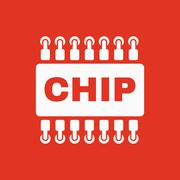 The chip icon. Microchip and microcircuit symbol. Flat Stock Illustration