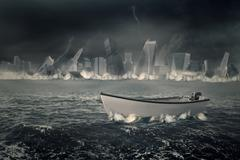 Boat on the sea with sinking city Stock Illustration