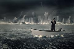 Businessman with gas mask on the boat Stock Photos
