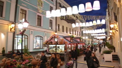"""Festival """"Moscow Spring"""" decoration Stoleshnikov lane late in the evening Stock Footage"""