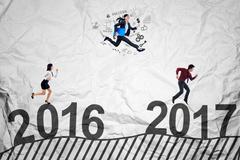 Entrepreneurs compete toward 2017 Stock Photos