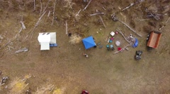 Aerial shot of hunting camp in the mountain Stock Footage