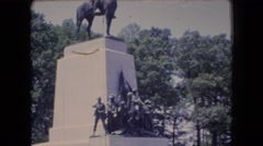 1966: a magnificent stature of a cavalry man stands in a beautiful place OHIO Stock Footage