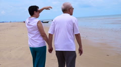 Asian senior couple beach. Well plan retired lifestyle no financial problem Stock Footage