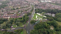 Orbiting aerial reveal of a boating festival in Dudley, West Midlands. Stock Footage