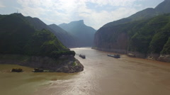 YANGTZE RIVER QUTANG GORGE DRONE AERIAL FLYING OVER CHINA Stock Footage