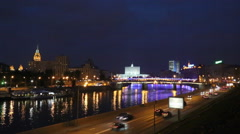 Night traffic on the embankment of the Moscow River, Russia Stock Footage