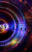 Music notes and silhouette of music speaker in space with stars. abstract color Stock Illustration