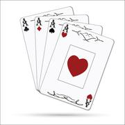 Ace of spades, ace of hearts, ace of diamonds, ace of clubs poker cards set i Stock Illustration