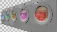 Washing machines with alpha channel Stock Footage