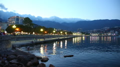 Yalta embankment at sunset, Crimea, Russia Stock Footage