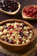 Crunchy Oatmeal Cereal with Almond and Dried Berries Stock Photos