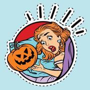 Girl scared Halloween evil pumpkin Piirros