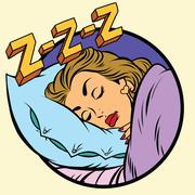 Comic girl sleeping in bed Stock Illustration