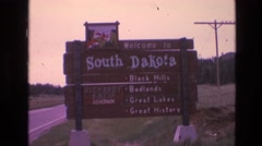 "1974: rustic sign from 1970s reading: ""welcome to south dakota, black hills Stock Footage"