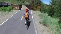 A boy rides his mountain bike across a bridge in the woods. Stock Footage