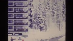 1974: it's always a pleasant day to roam around in winter on streets with family Stock Footage