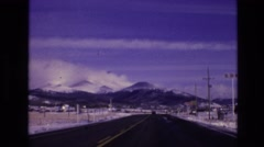 1974: driving toward mountains VAIL COLORADO Stock Footage