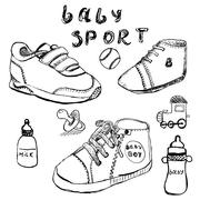 Baby shoes set sketch handdrawn isolated on white Stock Illustration