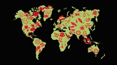 Animation germ and pathogen for human disease spreading the world map Stock Footage