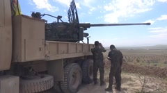 Syria - February 2016: YPG soldiers near the truck with weapon, ISIS war,SDF YPG Stock Footage