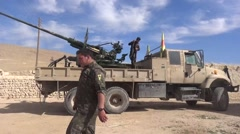 Syria - February 2016: Truck with heavy weapon, ISIS war, SDF (YPJ,YPG) Stock Footage
