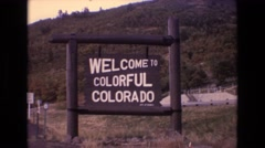 1973: a welcome sign indicating entry into colorado. COLORADO Stock Footage
