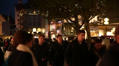 Anonymous Crowds in Munich at night Stock Footage