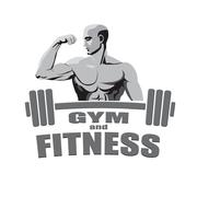 Fitness gym logo mockup bodybuilder showing biceps isolated on white backgrou Stock Illustration